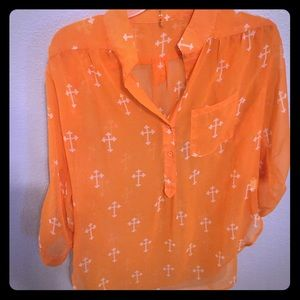 Dressy orange tunic with white cross design!!